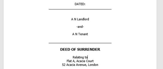 Deed of Surrender